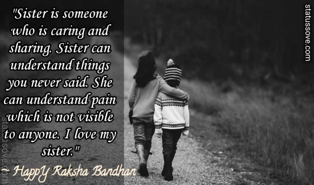 Sister is someone who is caring and sharing. Sister can understand things you never said. She can understand pain which is not visible to anyone. I love my sister.
