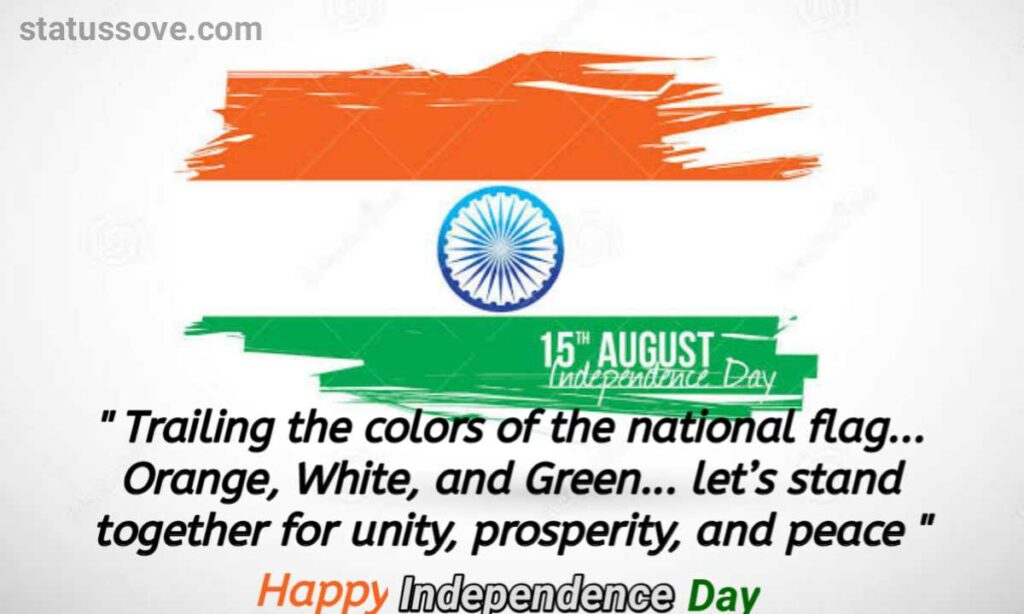 Trailing the colors of the national flag… Orange, White, and Green… let's stand together for unity, prosperity, and peace