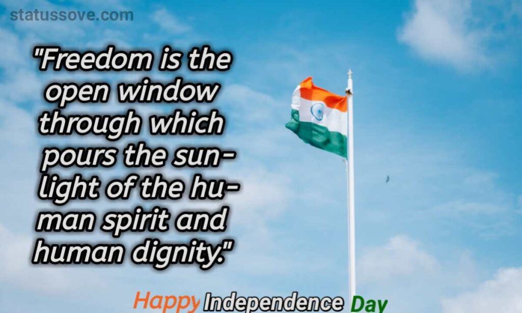 Freedom is the open window through which pours the sunlight of the human spirit and human dignity