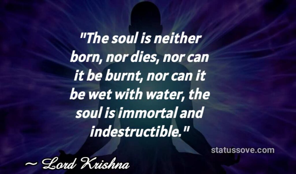 The soul is neither born, nor dies, nor can it be burnt, nor can it be wet with water, the soul is immortal and indestructible.